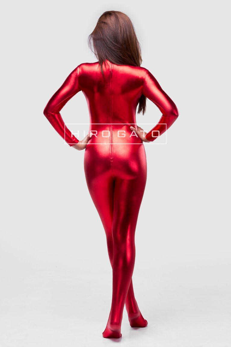 Metallic Spandex Catsuit Red