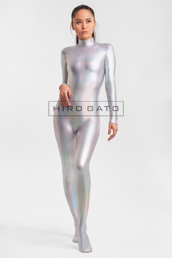 Shiny Hologram Metallic Spandex Lycra Zentai Catsuit Bodysuit Silver