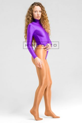 Spandex Leotard Purple High Leg Lycra