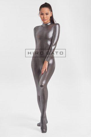 Premium Shiny Spandex Lycra Zentai Catsuit Bodysuit Titanium