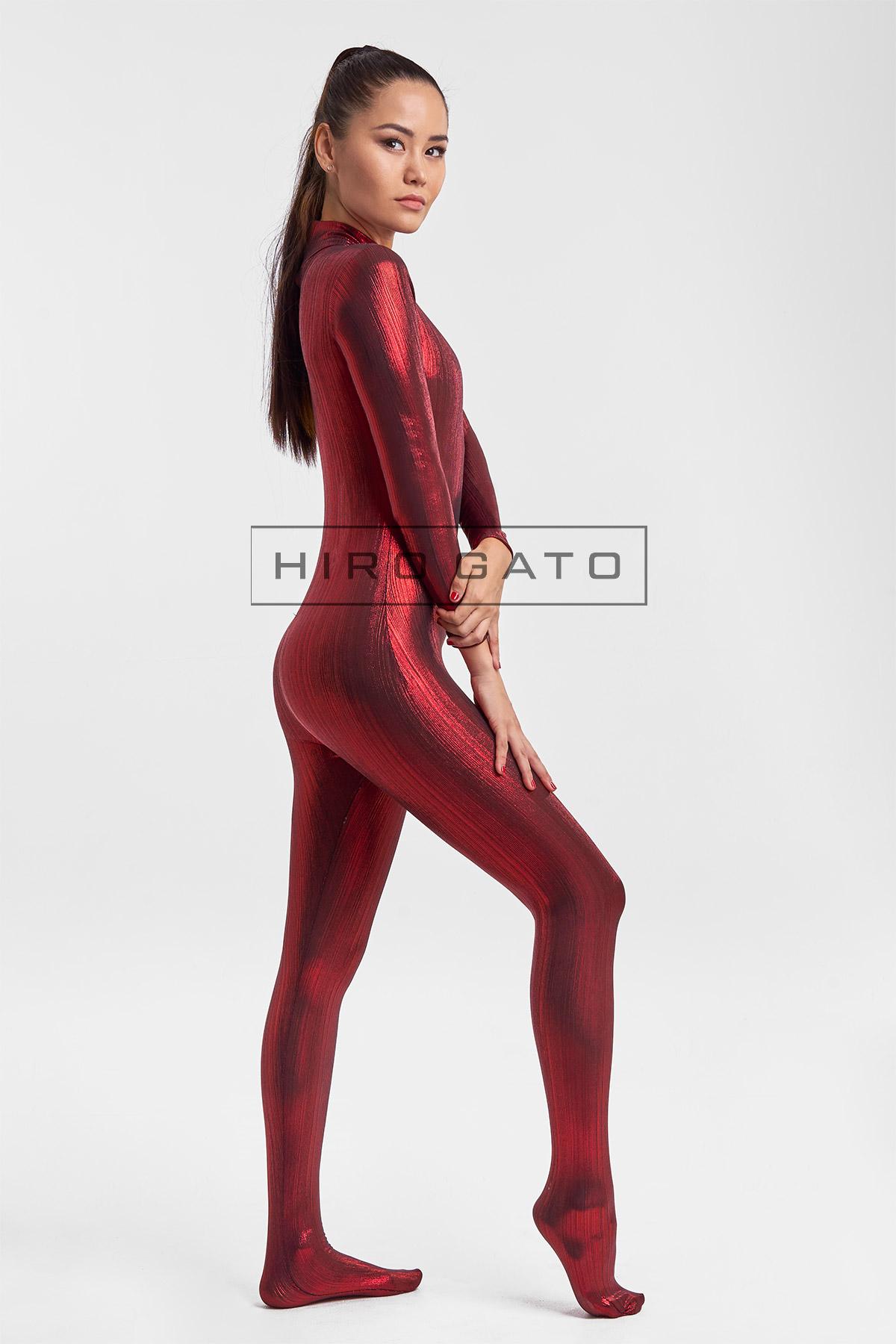 Premium Shiny Spandex Lycra High Leg Cut Leotard Red