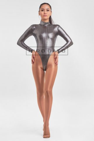 Premium Shiny Spandex Lycra High Leg Cut Leotard Titanium
