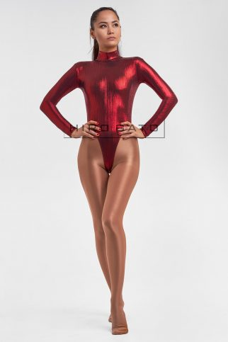Premium Shiny Spandex Lycra High Leg Cut Leotard Red