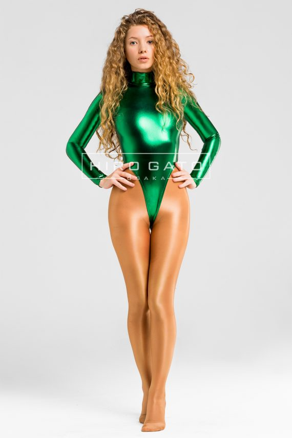 Shiny Metallic Spandex Lycra High Leg Cut Leotard Green