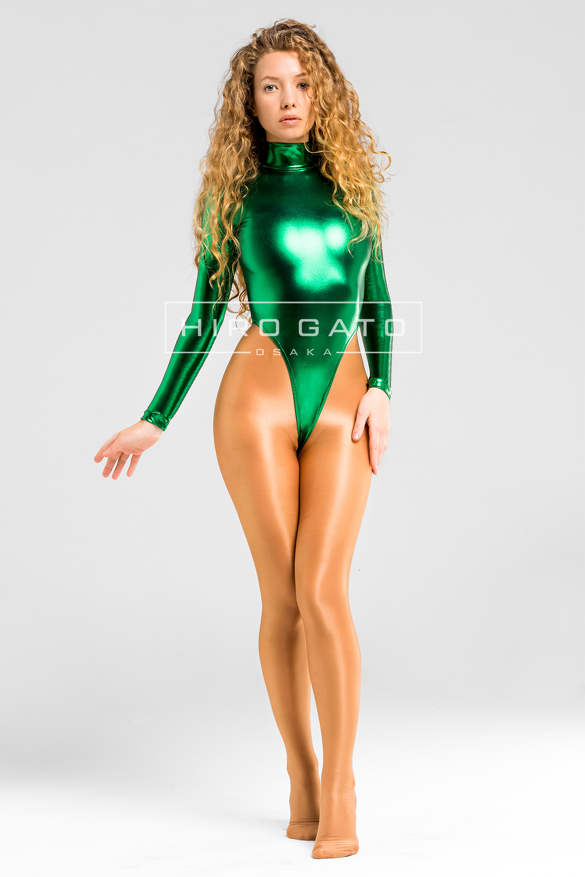 Shiny Metallic Spandex Lycra High Leg Cut Leotard Green