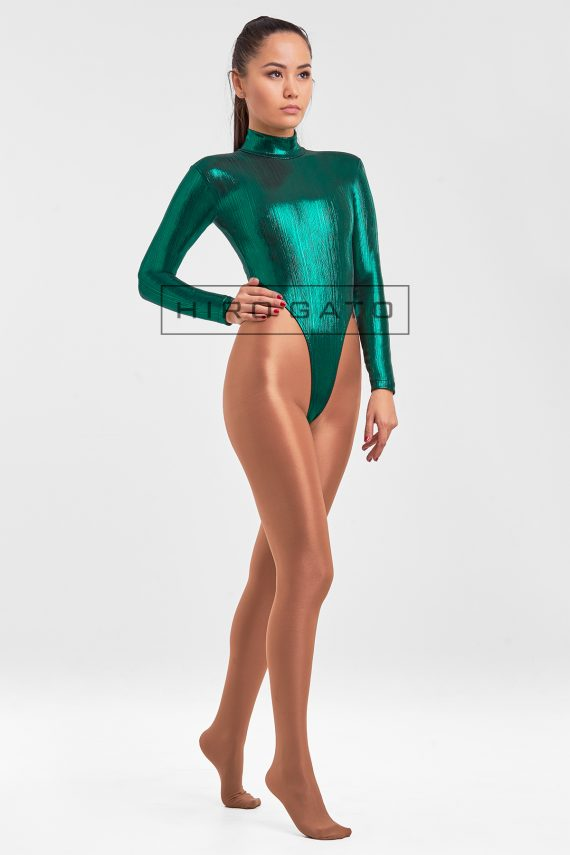 High Leg Leotard Dark Green Spandex Lycra zentai