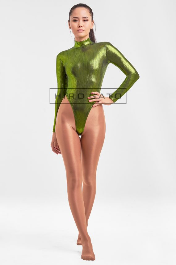 High Leg Leotard Green Shiny Spandex Zentai