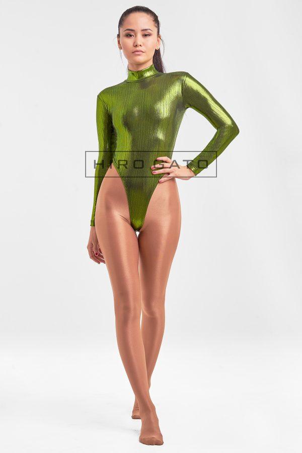 High Leg Leotard Green Shiny Spandex Zentai