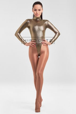 Shiny Spandex Lycra High Leg Cut Leotard Light Gold