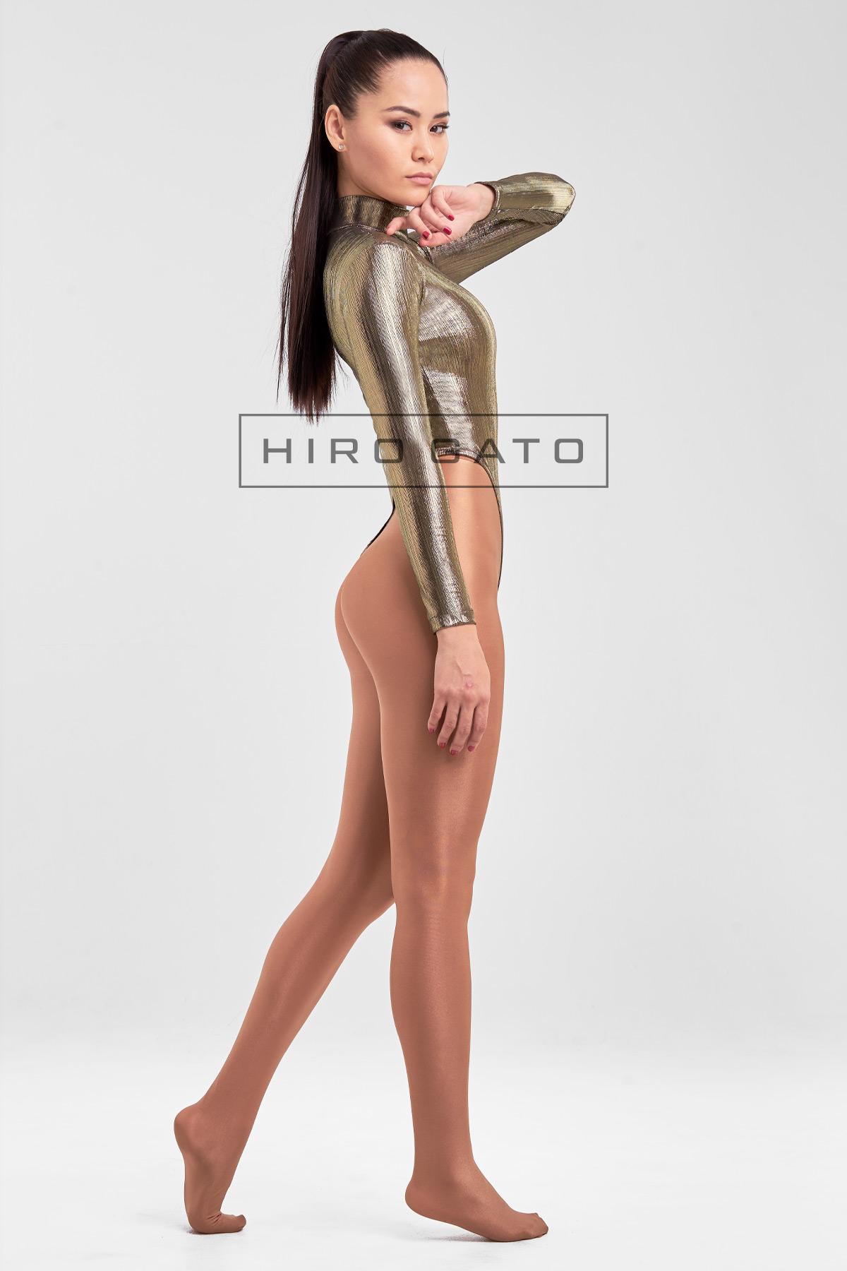 Shiny Spandex Lycra High Leg Cut Leotard Light Gold