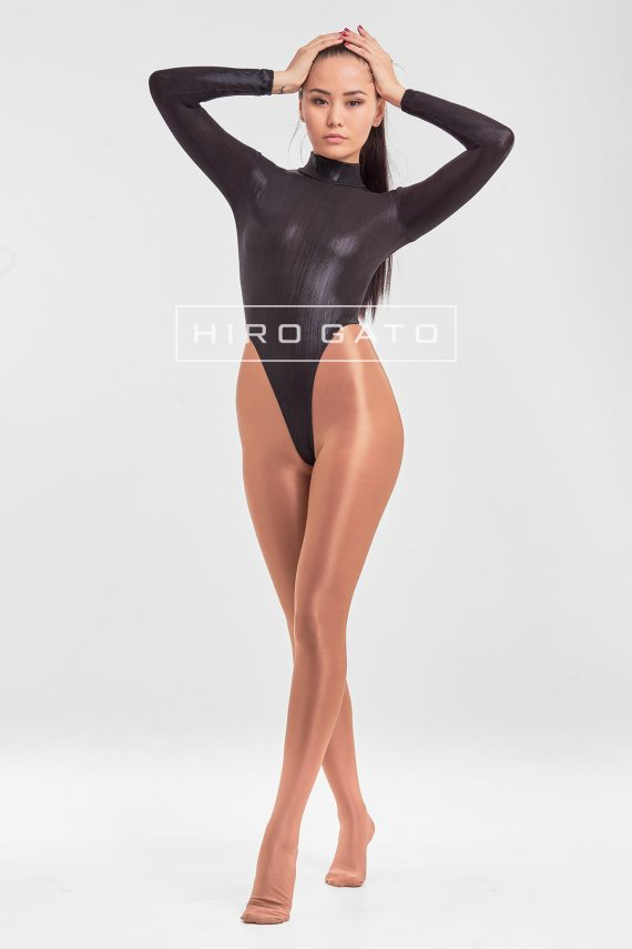 High Leg Leotard Black Shiny Metallic Lycra Spandex