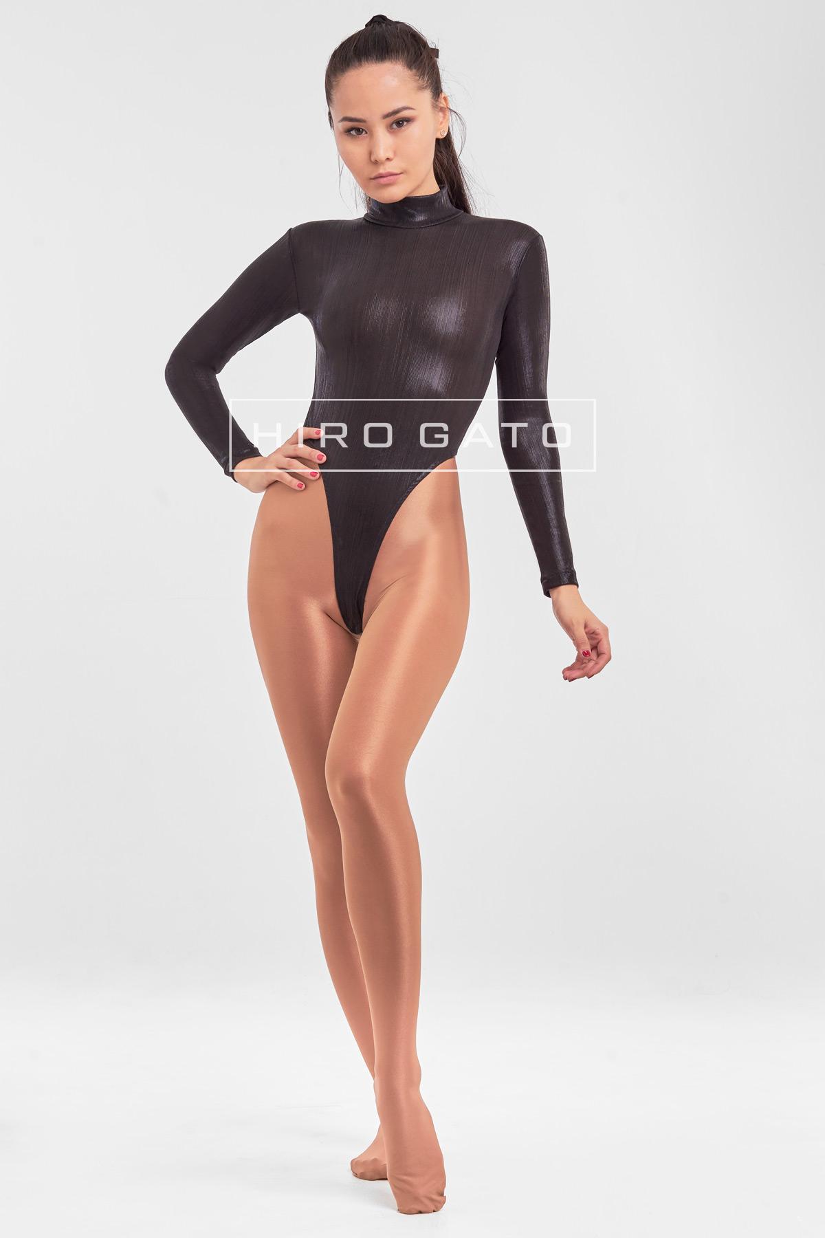 High Leg Leotard Black Shiny Metallic Lycra Spandex