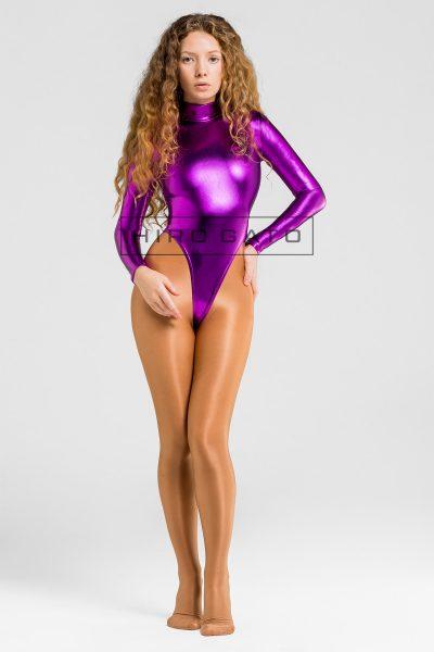 Leotard Metallic Spandex Purple Lycra Shiny High Leg Zentai