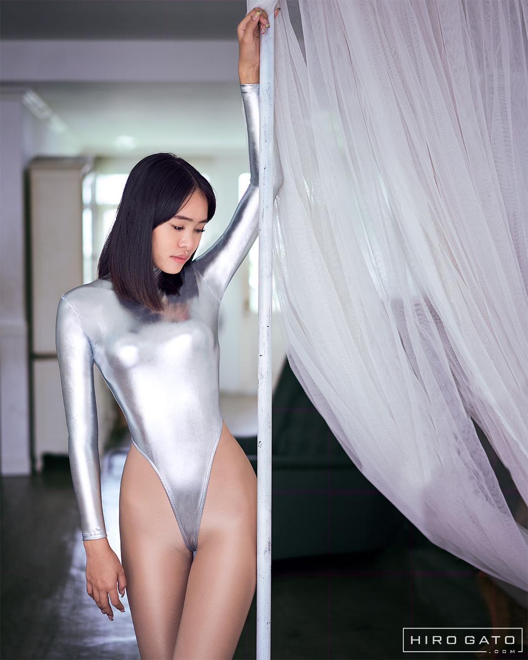 Silver Shiny Metallic Leotard High Leg