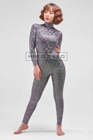 Shiny Spandex Disco Bubbles Hologram Zentai Catsuit Silver