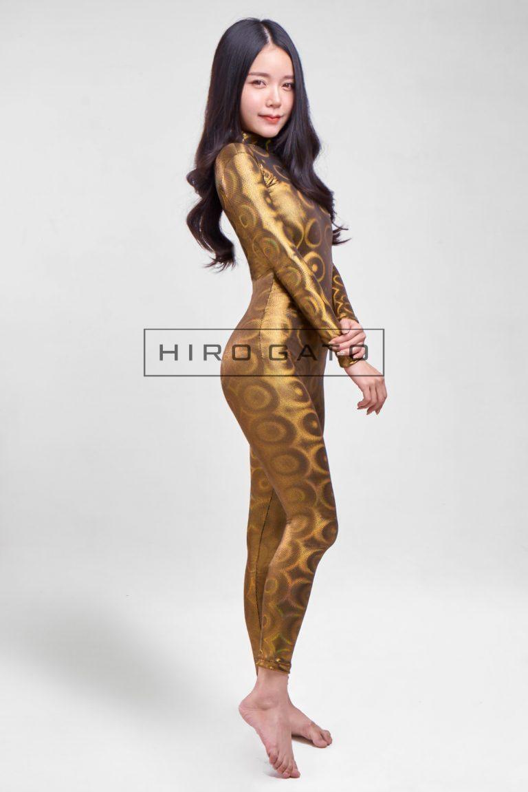 Shiny Spandex Disco Bubbles Hologram Zentai Catsuit Gold