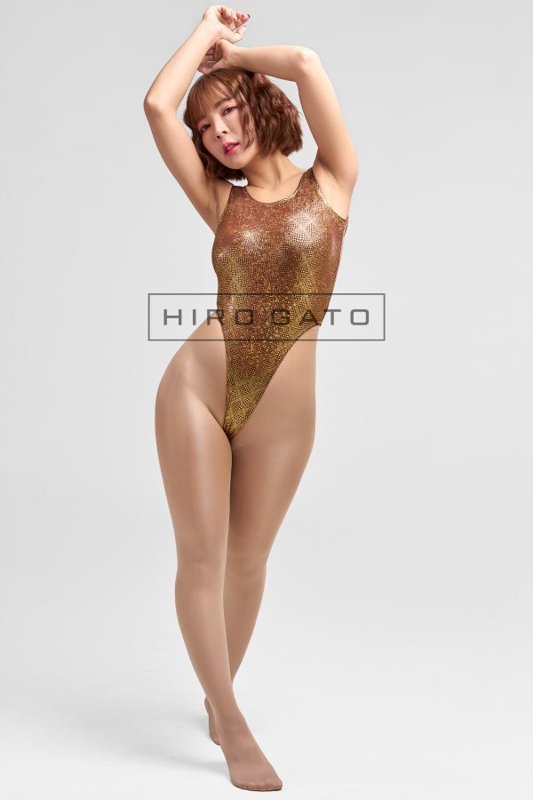 Shiny Disco Diamond Hologram Leotard Gold High Leg Spandex Lycra Body Swimsuit