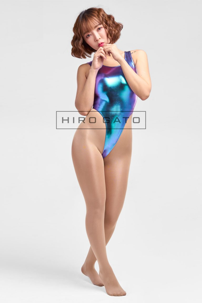 Shiny Metallic Hologram Leotard Blue High Leg Spandex Lycra Body Swimsuit