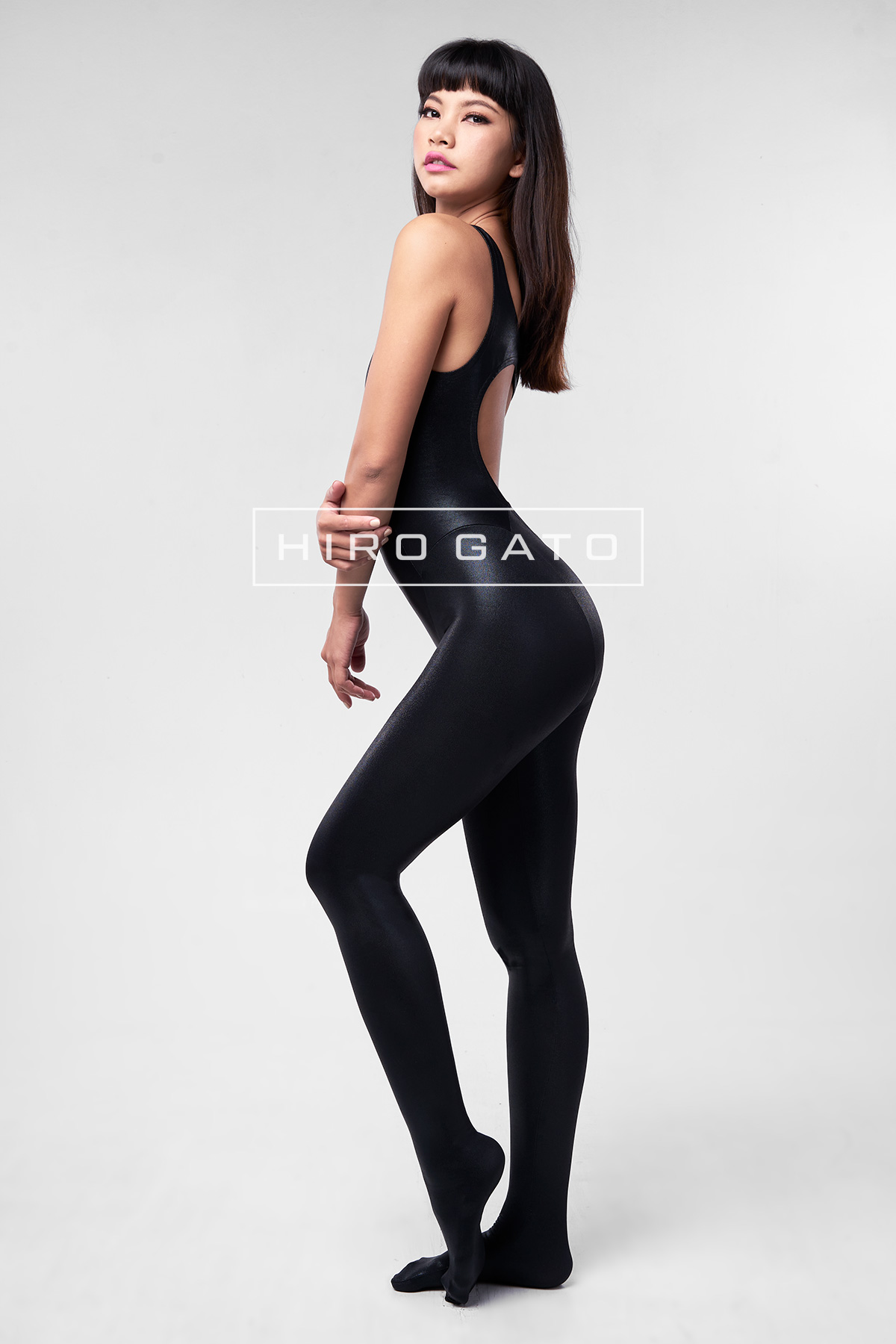 Metallic Lycra Unitard Black