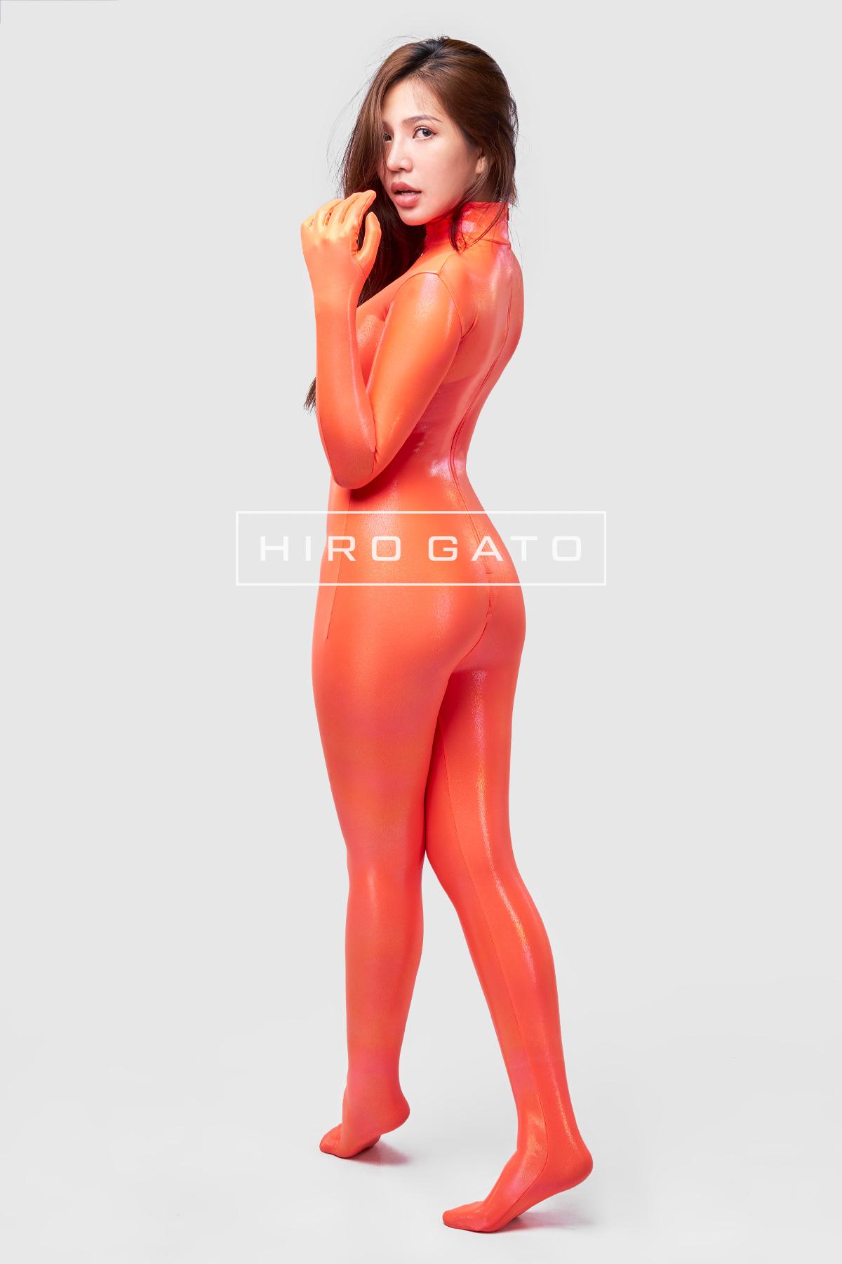 HIRO GATO Mystique Metallic Spandex Unitard Orange Burning Suit Rave Party Lycra Catsuit Bodysuit