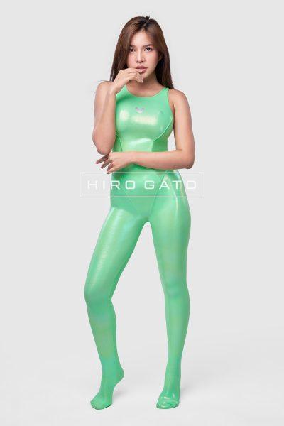 Metallic Lycra Unitard Green
