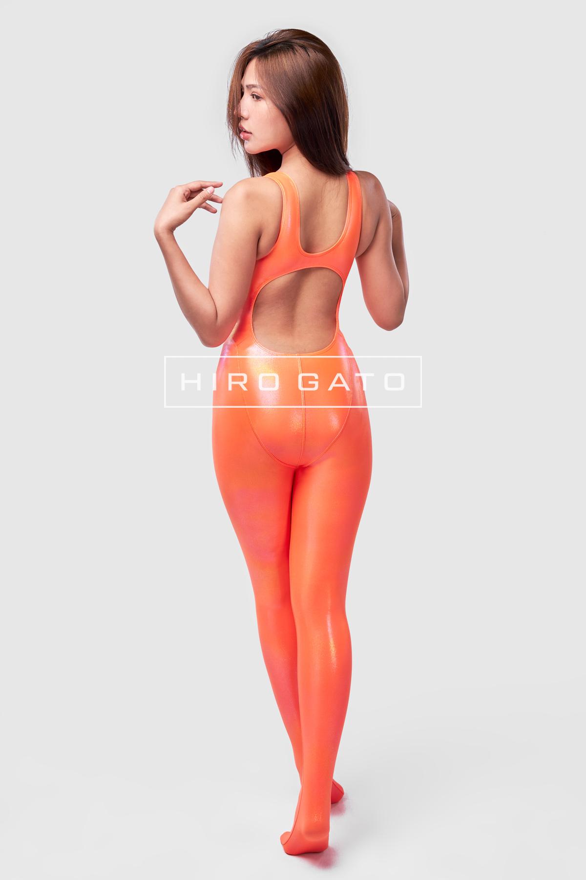 Metallic Lycra Unitard Orange