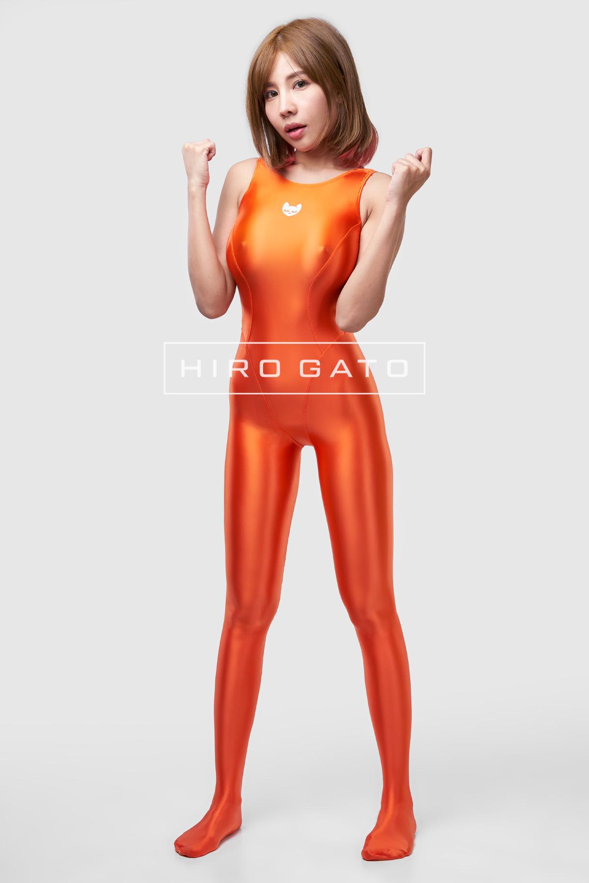 Satin Lycra Unitard Orange
