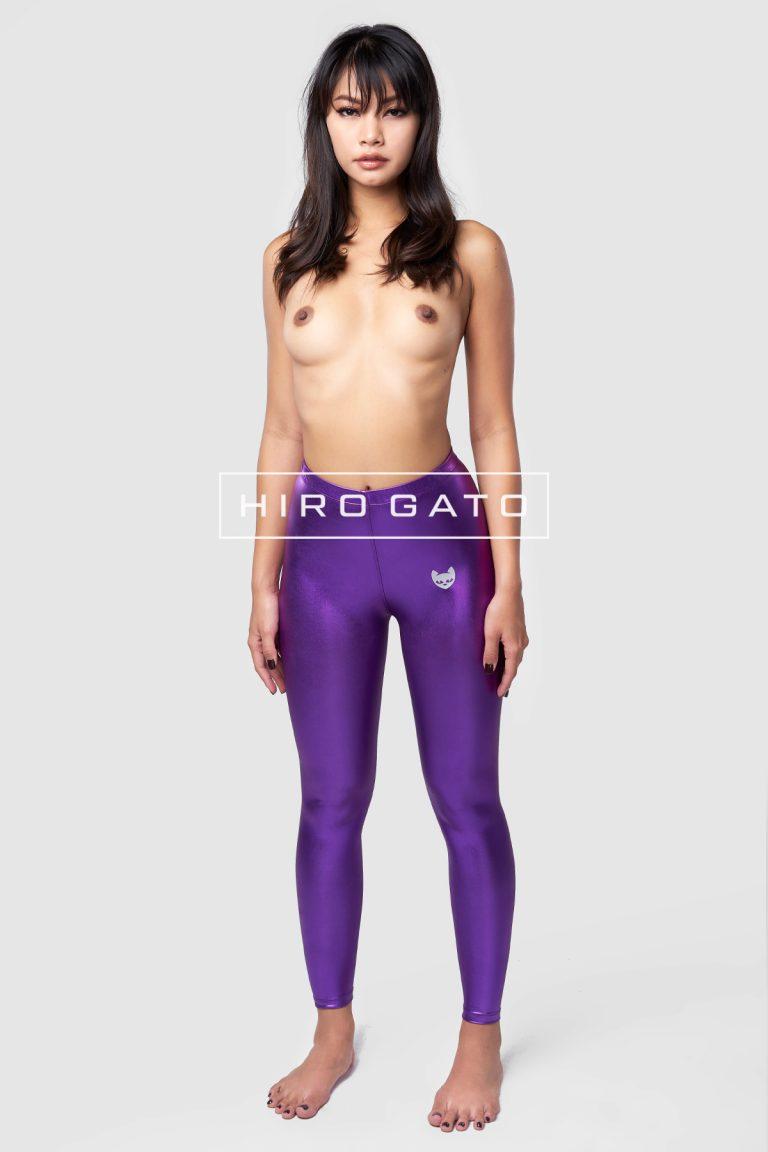 Metallic Lycra Leggings Purple